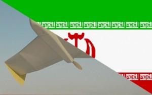 Iranische Flagge und Drohne